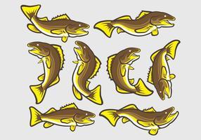 Walleye Fish Ikoner vektor