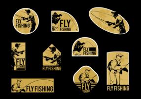 Man Fliegen Fischen Vektor Etiketten