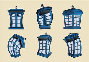 Vektor tecknad illustration av Tardis blå polis telefonlåda