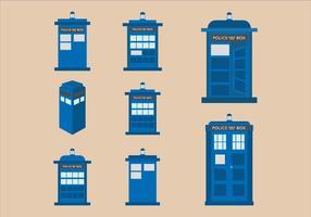 Vektor platt design illustration av Tardis blå polis telefonlåda