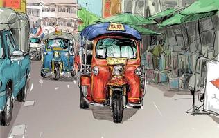 Skizze einer Auto-Rikscha in einem Stadthintergrund vektor