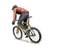 Skizze eines Radfahrers, der ein Fahrrad mit festem Gang fährt