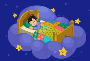 liten pojke drömmer vektor