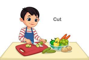 liten pojke skär grönsaker