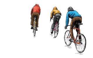 Skizze von Radfahrern, die Fahrräder mit festem Gang fahren