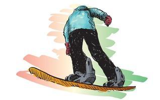 Skizze des Mannes Snowboarden vektor