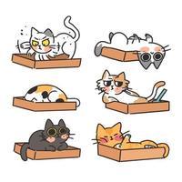 katter och kattlåda doodle stil klistermärken set vektor