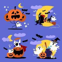 spooky halloween spöke och häxa teckenuppsättning vektor