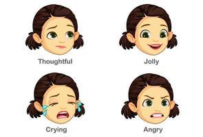 uppsättning flicka ansiktsuttryck