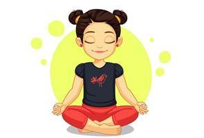 söt liten flicka i yogaställning vektor