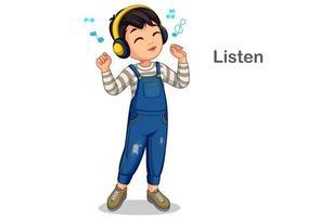 kleiner Junge hört Musik vektor