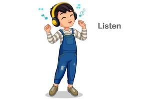 liten pojke lyssnar musik