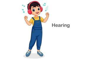 kleiner Junge, der Musik hört vektor