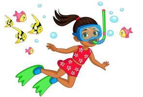 söt liten flicka dykare tecknad vektor