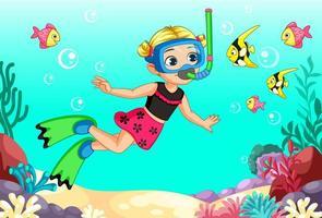 söt liten blond flicka dykare
