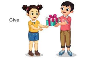 kleiner Junge, der einem kleinen Mädchen ein Geschenk gibt vektor