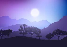 trädlandskap vid solnedgången vektor