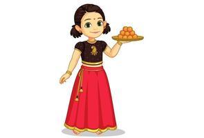 söt liten flicka som håller en tallrik med godis