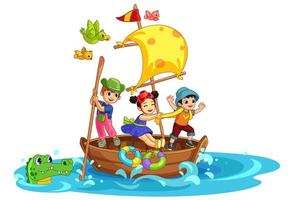 tre barn som har kul på båten vektor