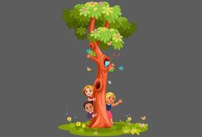 barn kikar bakom trädet