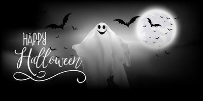 halloween banner med spöke och fladdermöss vektor