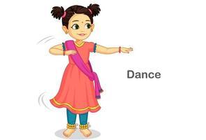 schönes süßes kleines Mädchen tanzt indischen klassischen Tanz vektor
