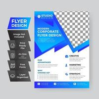 Flyer Vorlage Layout Design in blau vektor