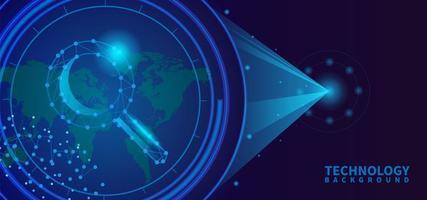 Lupenbanner Hintergrund mit Technologiekonzept