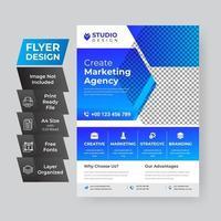 abstrakt företags flygblad broschyr formgivningsmall i blått vektor