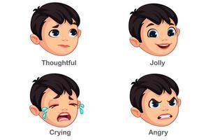 pojke med olika ansiktsuttryck del 3 vektor