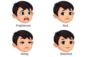 pojke med olika ansiktsuttryck del 2 vektor
