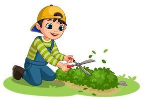 söt liten trädgårdsmästare pojke