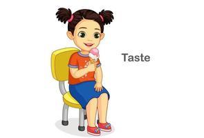 Mädchen mit Eis, das einen Geschmackssinn zeigt vektor
