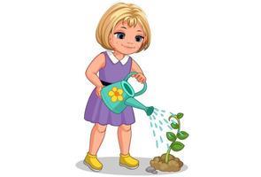 söt liten flicka vattna växten vektor