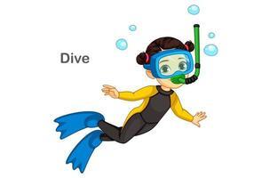 söt liten flicka dykning