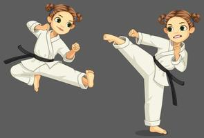süßes kleines Karate-Mädchen in Karate-Pose vektor