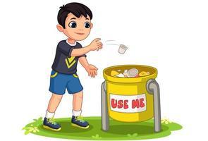kleiner Junge, der Müll in Mülleimer-Vektorillustration wirft