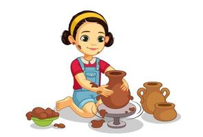 söt liten flicka som gör keramik på hjulet vektor