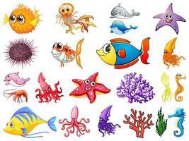 stor uppsättning havsdjur på vit bakgrund vektor