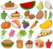 großer Satz von Obst und Gemüse auf weißem Hintergrund