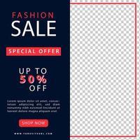 mode försäljning marknadsföring sociala medier inlägg vektor