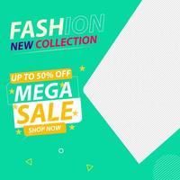 mode sociala medier mega försäljning erbjudande design vektor