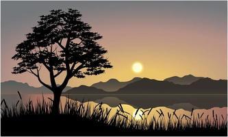 solnedgång som reflekterar över vatten över berglandskap vektor
