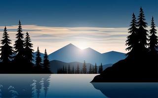 vacker bergssolnedgång över vatten vektor