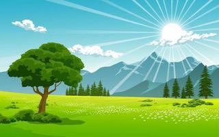 soluppgång över bergskedjelandskap vektor