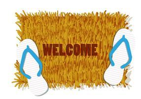 Illustration von Willkommen Matte mit Paar Sandale vektor