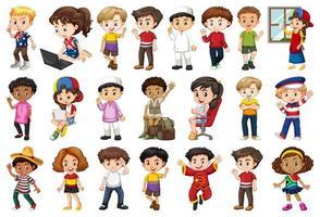 große Gruppe von Kindern, die verschiedene Aktivitäten ausführen vektor
