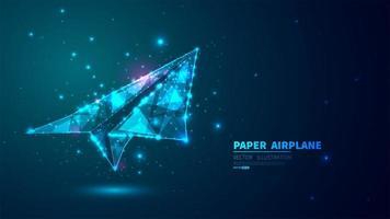 glühender, futuristischer Papierflugzeughintergrund vektor