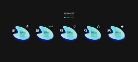 leuchtende Formen Infografik Banner Vorlage vektor