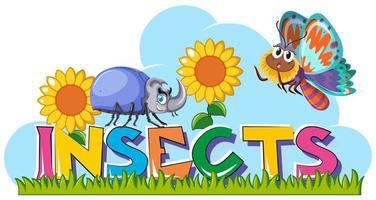 Wort Insekten mit Käfer und Schmetterling im Garten vektor